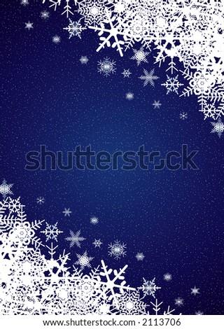 Winter night snowfall scene