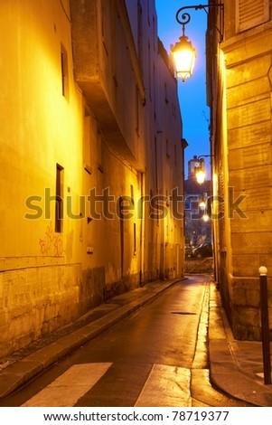 winter night street of Paris