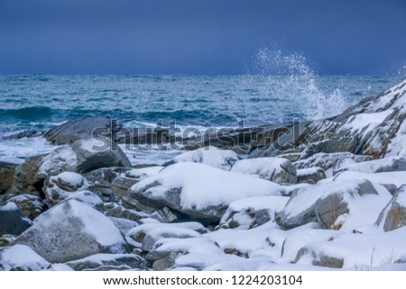 Winter Norway. Snow-covered rocky shore of the ocean. Water spray of the surf wave #1224203104