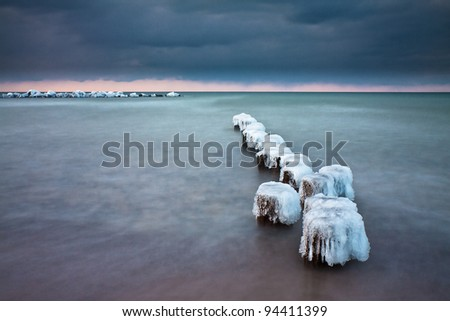 Winter on shore of the Baltic Sea.