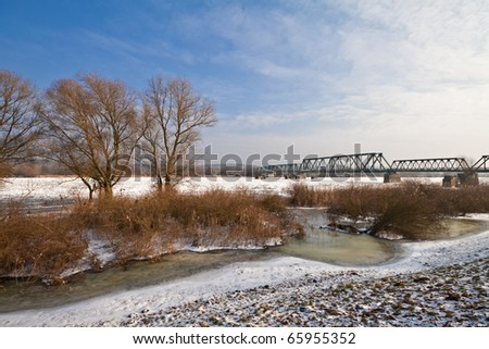 Winter on the river Oder (Germany).