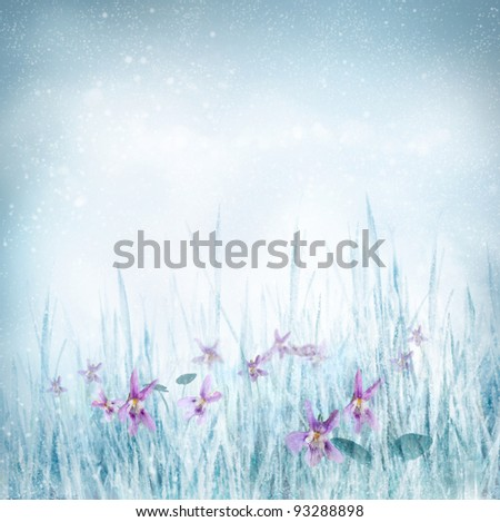 Winter or spring nature background with frozen grass and violet flowers. Spring floral background