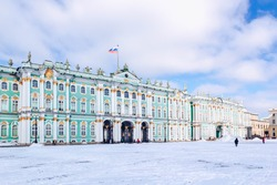 Winter Palace building Hermitage Museum on Palace Square at frosty snow winter day in St. Petersburg, Russia