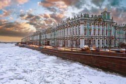 Winter Palace in Saint Petersburg. Hermitage in Russia. Panorama of Hermitage. Frozen Neva near Winter Palace. Saint Petersburg in a winter day. Sights of Petersburg. Museums of Russia cities.