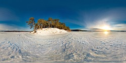 Winter panorama in the snow-covered forest near the river in nice sunny evening. Full spherical 360 by 180 degrees seamless panorama in equirectangular projection. Skybox for Virtual reality content
