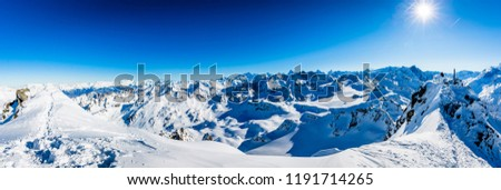 Winter panorama landscape from Mont Fort and famous Matterhorn, Dent d'Herens, Dents de Bouquetins, Weisshorn, Tete Blanche in the background, Verbier, 4 Valleys, Switzerland  Photo stock ©