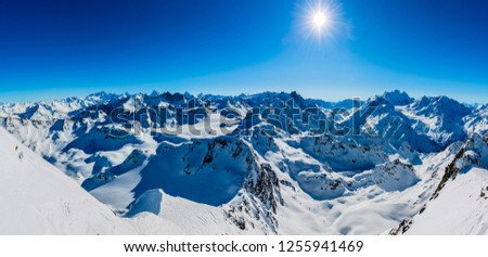 Winter panorama landscape from Mont Fort and famous Matterhorn, Dent d'Herens, Dents de Bouquetins, Weisshorn; Tete Blanche in the background, Verbier, 4 Valleys,  Photo stock ©