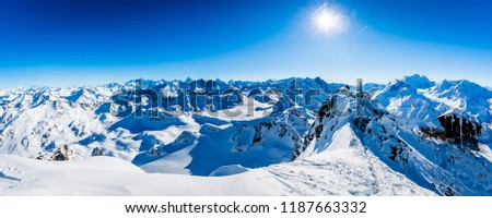 Winter panorama landscape from Mont Fort and famous Matterhorn, Dent d'Herens, Weisshorn; Tete Blanche in the background, Verbier, 4 Valleys,  Photo stock ©