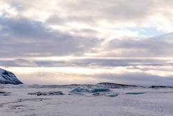Winter Panorama of Icelandic Atlantic ocean, glacier and Vatnajökull National Park sky