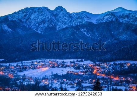 Winter panorama of Zakopane and Giewont. Zakopane, Lesser Poland, Poland. #1275242053
