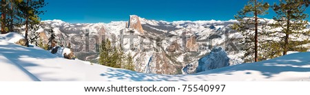 Winter Panorama - Yosemite National Park's Glacier Point in the heart of winter.