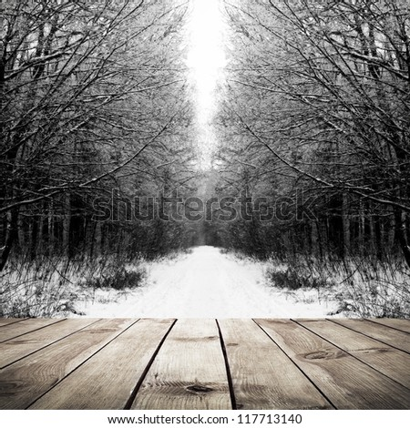 Winter path in the forest with wood plank floor background