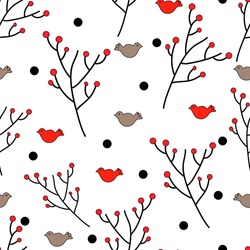 Winter pattern with birds  ad branches. Vector eps10