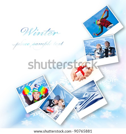 Winter photo collage border, abstract snowflake decoration with set of many concept pictures, blue ornamental design with white text space, holidays and happy people fun outdoor images