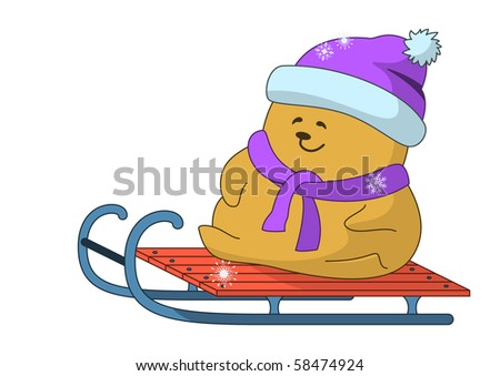 Winter picture: the little teddy-bear goes for a drive on sledge