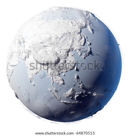Winter planet Earth - covered in snow and ice planet with a real detailed terrain, soft shadows and volumetric clouds on a white background
