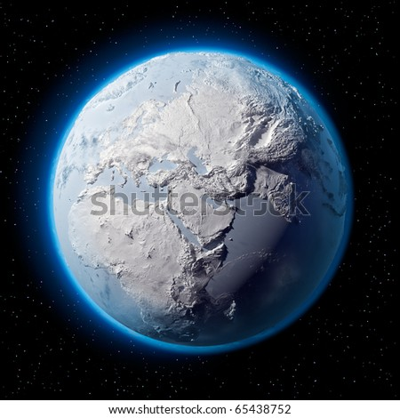 Winter planet Earth - covered in snow and ice planet with a real detailed terrain, soft shadows and volumetric clouds in space against a starry sky
