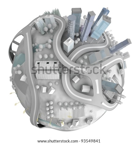 Winter planet town isolated on white
