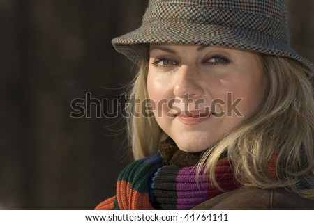 Winter portrait of a young woman
