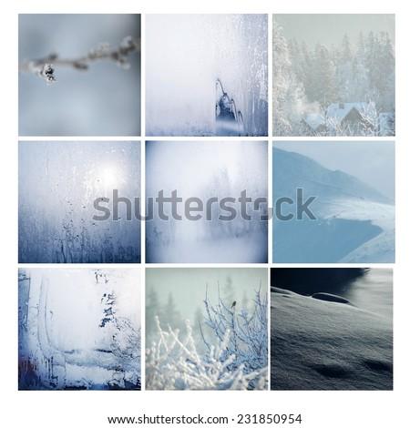 Winter postcard background glass freeze way tree square
