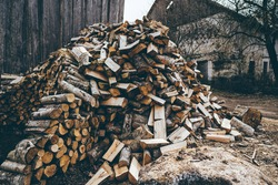 Winter preparation. Stacking Firewood. Pile of firewood loggs. Firewood background.