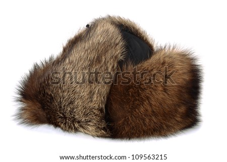 Winter raccon fur hat isolated on white