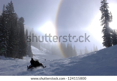 Winter rainbow at Alta ski resort, Utah