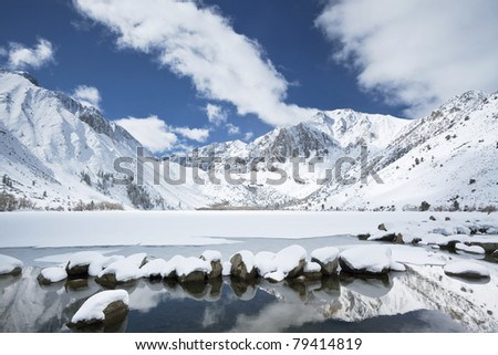 Winter reflections at Convict Lake in eastern Sierra Nevada mountains of California