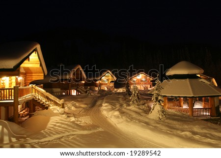 Winter Resort Community at Night