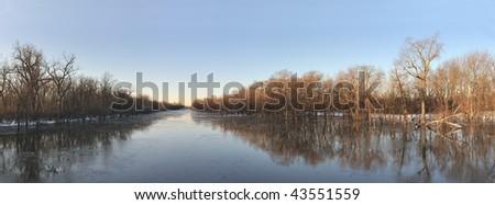 Winter river panoramic
