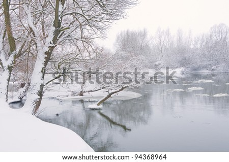 winter river, when it is snowing in afternoon