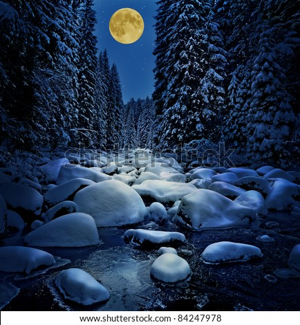 winter river with golden moon