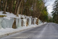 Winter road in Acadia National Park , Maine, USA