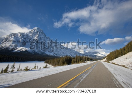 Winter Road in Alberta, Canada