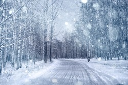 Winter road in snowy forest landscape