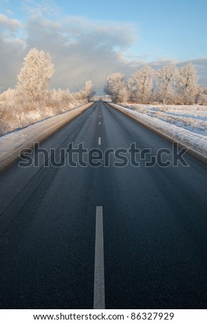 Winter road in very cold winter morning with frosty tree