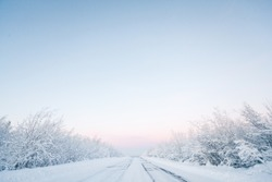 Winter road, snowy trees. Minimalistic landscape with a gradient blue sky.