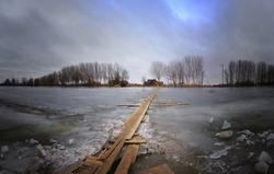 winter  Russia Volga river