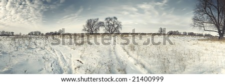 Winter Russian landscape with traces on snow