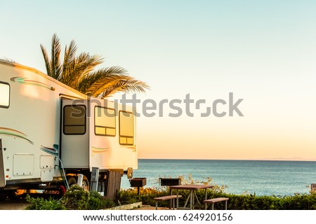 Winter RV camping on cost of California. #624920156