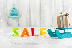 Winter sale and shopping concept. Selective focus
