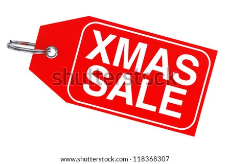 Winter sale concept. Christmas sale tag on a white background