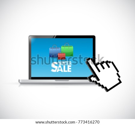 Winter sale online sale illustration design over a white background