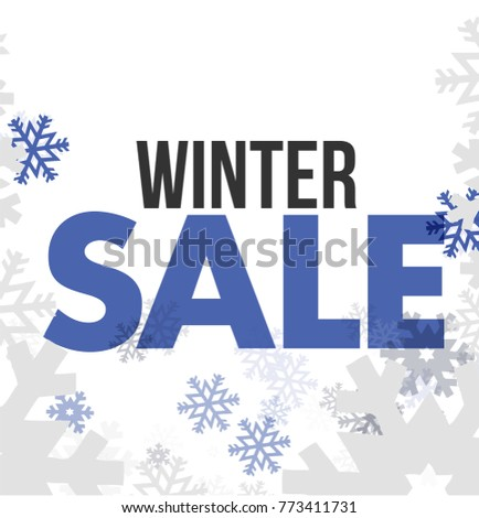 Winter sale snowflakes illustration design over a white background