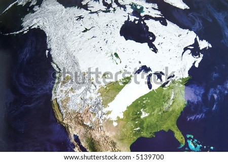 Winter satellite photo of North America