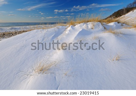 Winter, Saugatuck Dunes State Park with drifted, fresh snow , Lake Michigan, Michigan, USA