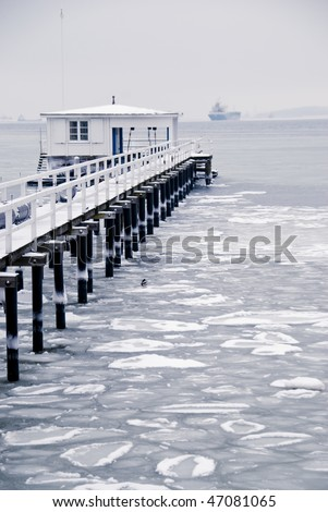 winter scene: frozen baltic sea with pack-ice