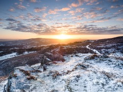 Winter scene in Yorkshire moorland close to ilkley