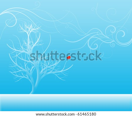 Winter scene of a snow-covered tree with stylized wintry winds