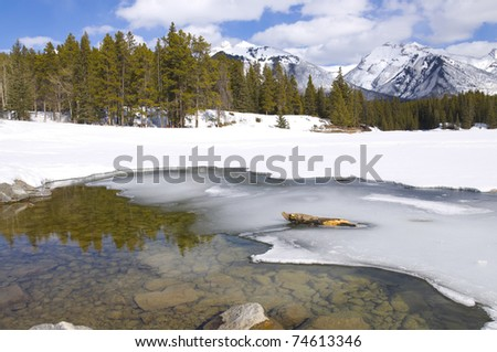 Winter scene of Johnson Lake, located in Banff National Park, Alberta, Canada Frozen over and accessable for snow shoeing and ice fishing